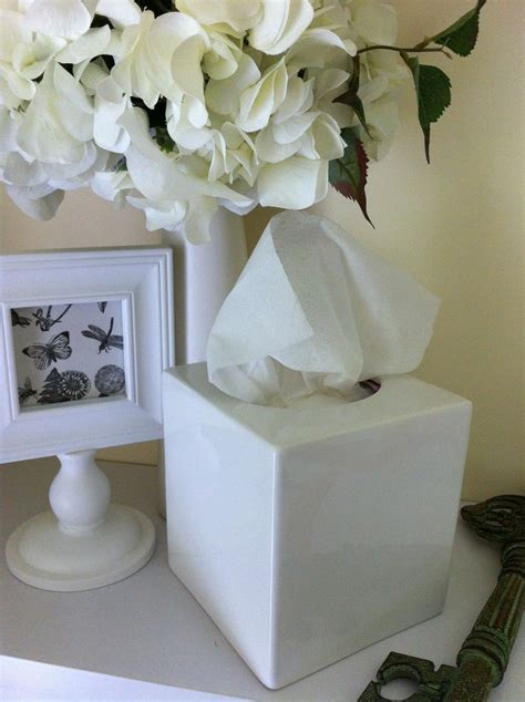 classic plain white ceramic tissue box cover home decor