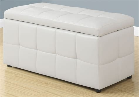 White Leather Storage Ottoman 8985 Monarch