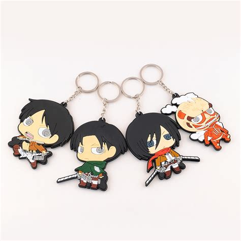 Anime Keychains 4pcs japanese anime attack on titan silicone key chain