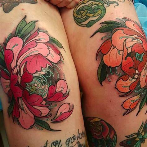 japanese tattoo knee peony flower tattoos on the knees by elliott wells peony