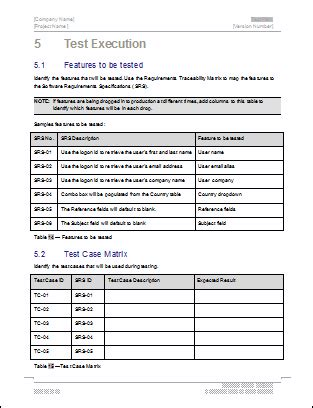 test template test plan ms word excel template