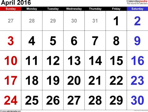 Agenda Calendar April 2016 Calendars For Word Excel Pdf