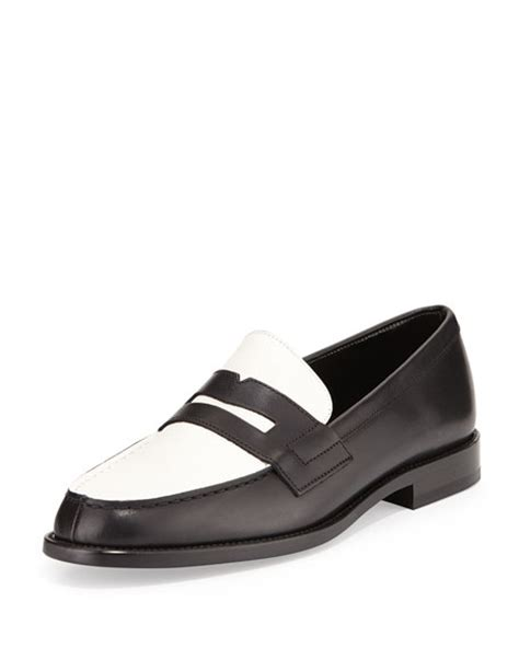 black and white loafer laurent bicolor leather loafer black white