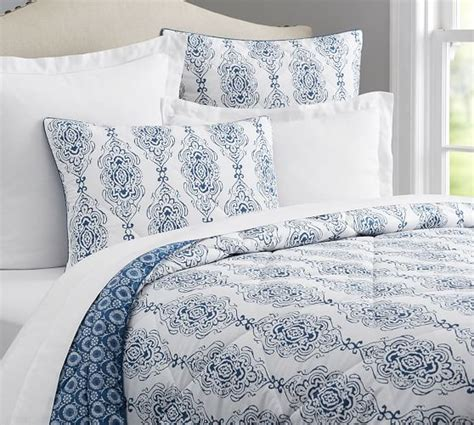 sham and comforter dessi print reversible comforter sham blue pottery barn