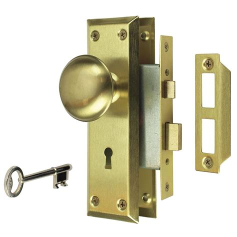 prime line mortise lock set with keyed nickel plated knobs
