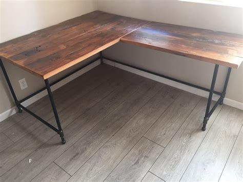 wood and steel desk l desk corner desk reclaimed wood steel pipe base