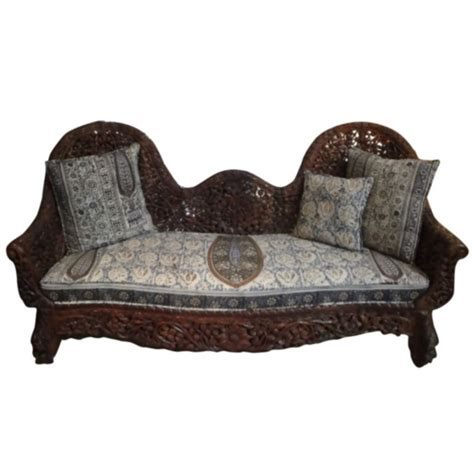 floral sofa sets india indian floral carved sofa with cushion at 1stdibs