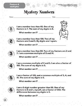 Mystery Numbers Factors Amp Multiples Printable Skills