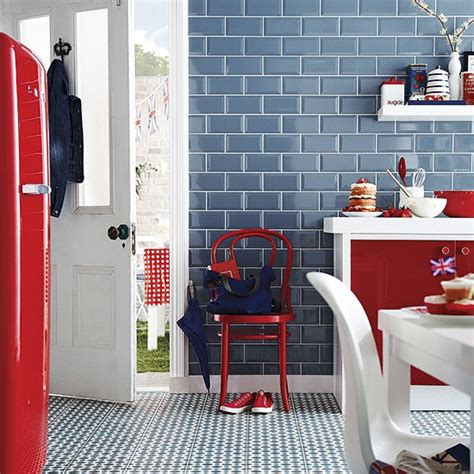 red and blue kitchen red white and blue tiled kitchen colouful kitchen ideas