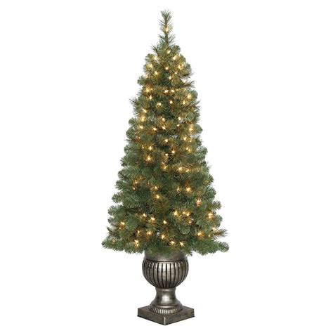 prelit battery operated potted christmas tree home accents 5 ft battery operated plastic ornament topiary tree with 30 clear led