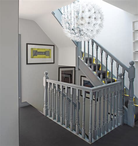 painted banister ideas grey banister staircase contemporary with gray carpet gray