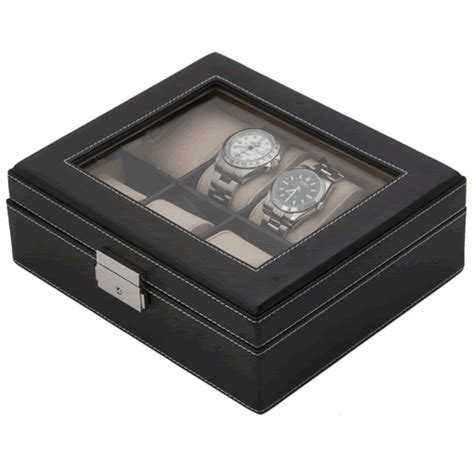 Decorative Display Cases by Black Pu Leather Eight Display With Decorative