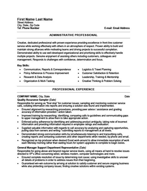 Resume Exle For Administrative Professional Administrative Professional Resume Template Premium Resume Sles Exle