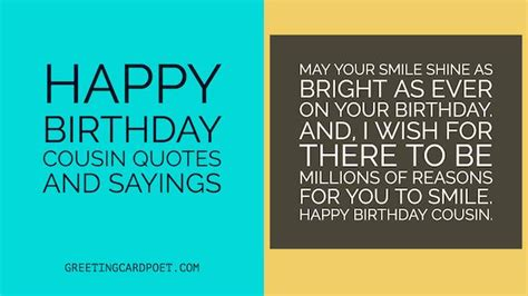 Birthday Quotes For A Cousin Happy Birthday Cousin Quotes And Sayings Greeting Card Poet