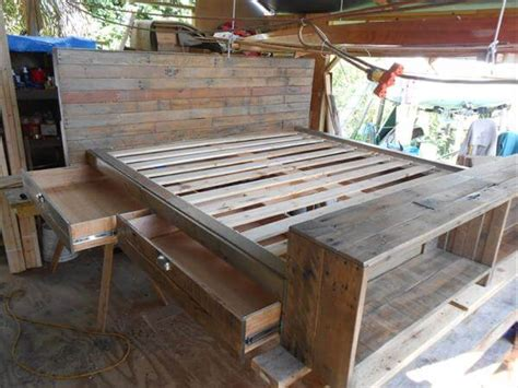 pallet bed with storage diy pallet bed with storage drawers 101 pallets