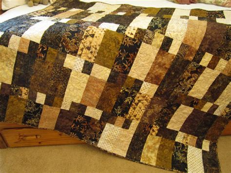 Black Patchwork Quilt - batik quilt handmade quilted black brown and by