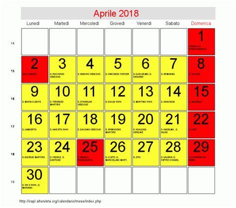 calendario di aprile 2018 data di pasqua
