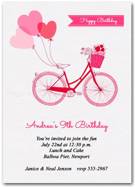 Bicycle Birthday Card Template by Balloons And Pink Bike Invitations