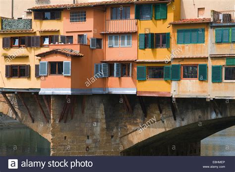 house over water houses over water on ponte vecchio florence italy stock