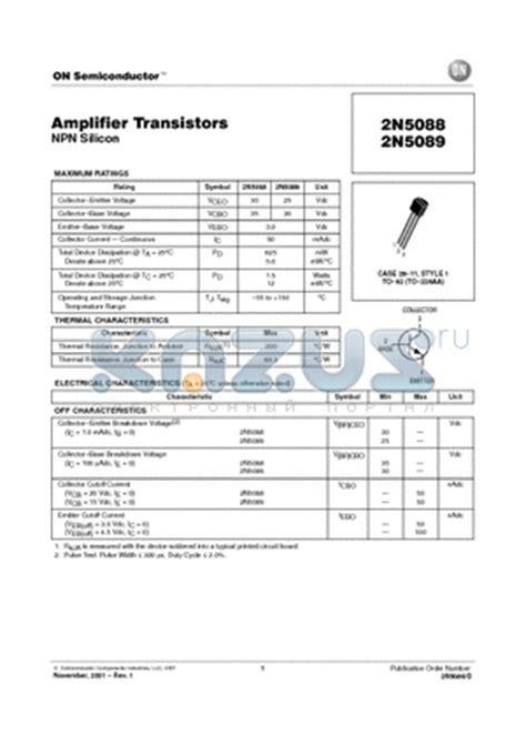 datasheet transistor lifier 2n5088 datasheet lifier transistor npn silicon 2n5088 pdf by on semiconductor 2n5088