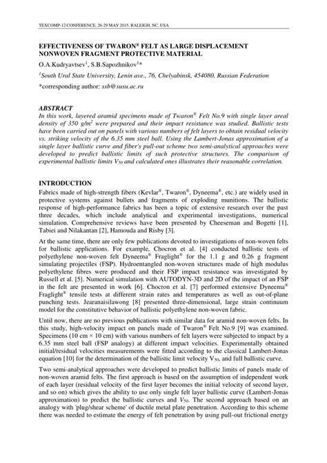 pdf mobi nonwoven fabrics materials effectiveness of twaron 174 felt as large displa с ement