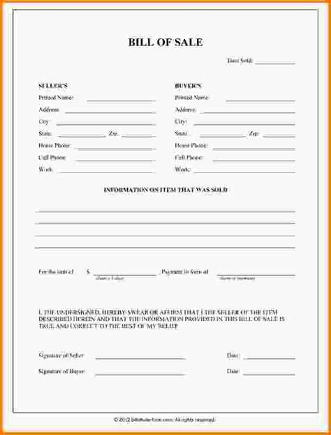 blank bill of sale form free vehicle bill of sale the