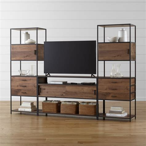 media console with bookcases knox media console with 2 tall storage bookcases reviews