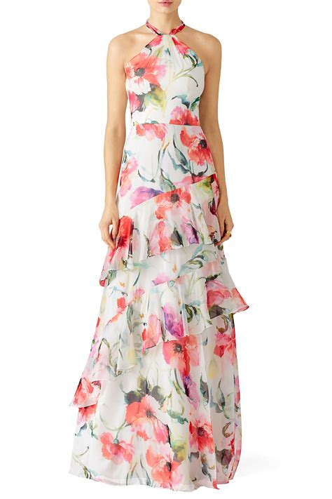 Maxi Peony peony print maxi by theia for 135 rent the runway