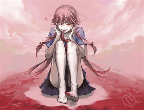 Seifuku Yuno Gasai blood clouds gasai yuno kneehighs hair mirai