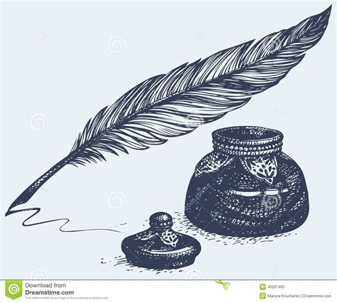 freehand tattoo pen vector freehand drawing of ancient pen and inkwell stock