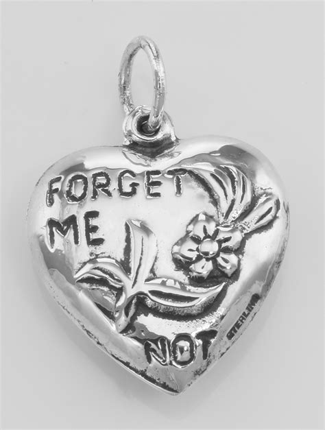 forget me not charm or pendant sterling silver hc