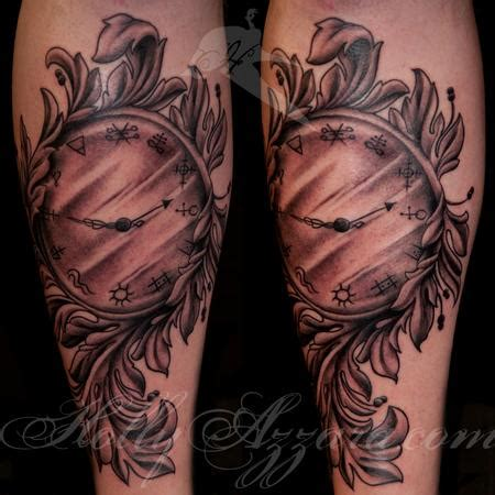 rush tattoos clock with filigree by azzara tattoonow