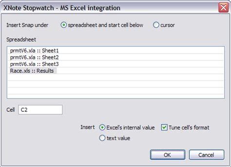 Xnote Stopwatch Web Online Help Excel Integration Excel Stopwatch Template