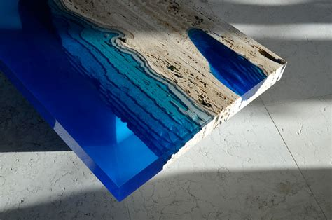 Glow In The Dark Table by Handmade Lagoon Tables Made From Resin And Cut Travertine