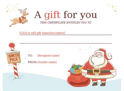 free printable gift cards from santa christmas gift certificate template 16 word pdf