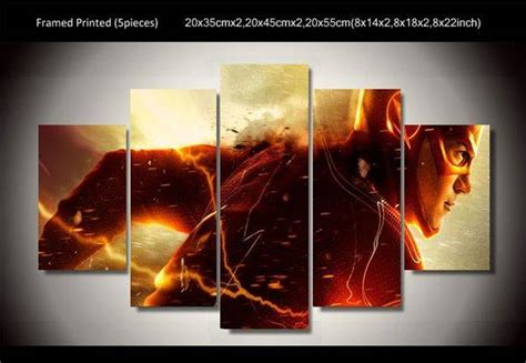 home decor flash sales framed printed flash superhero running 5 piece painting