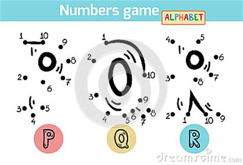numbers game alphabet letters p   stock vector image