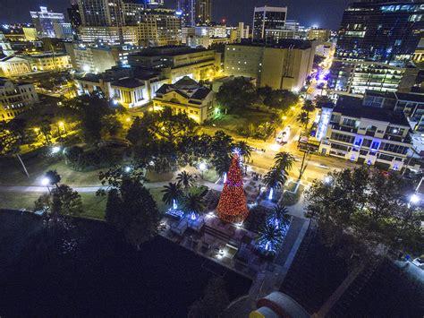 lake eola christmas lights tree on lake eola drones orlando