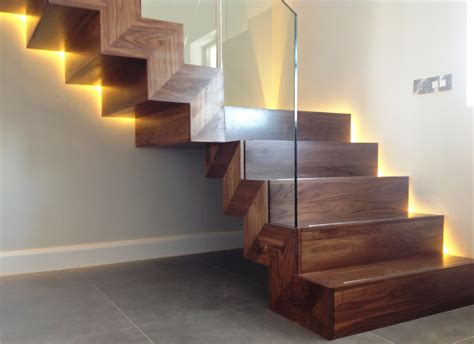 contemporary staircase contemporary walnut stairs with inset glass custom built