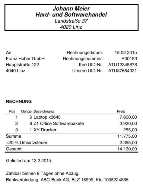 Rechnung Für Kleinunternehmer Gem 19 Ustg Rechnungsmerkmale 187 Andreas Haderer Wirtschaftsberatungs Und Buchhaltungs Gmbh