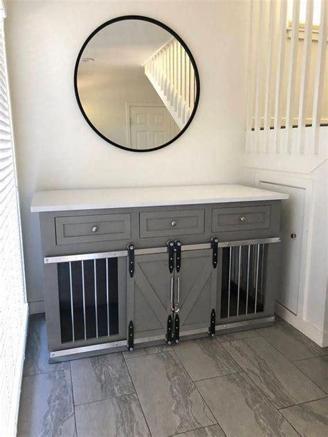 rustic dog crate  drawers sliding barn doors crate