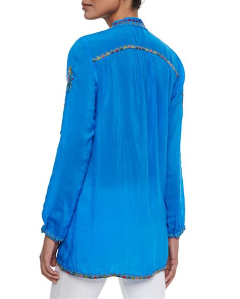 V Neck Embroidery Tunic 4350 johnny was nemo embroidered v neck tunic s