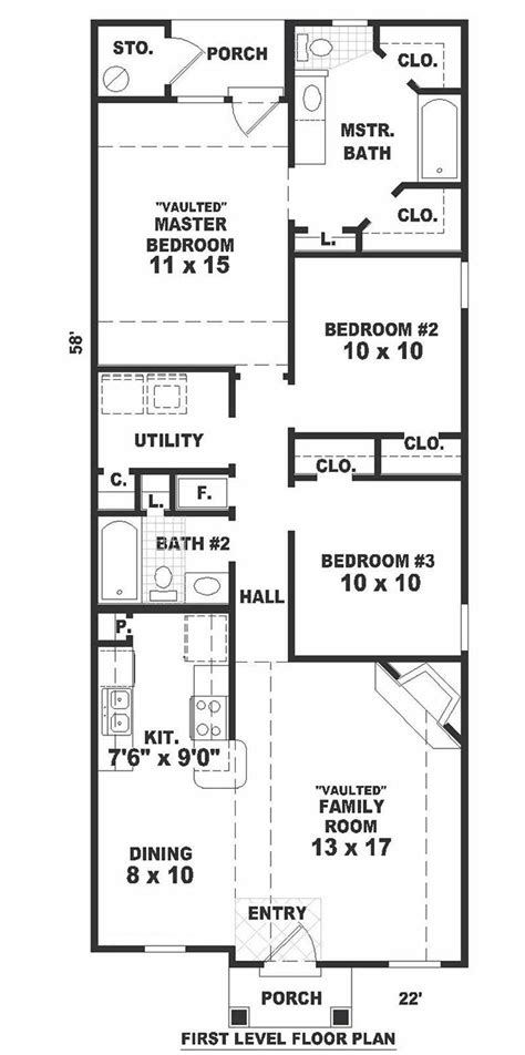 narrow house floor plans small bungalow house plans home design b1120 77 f 7596