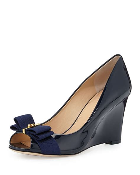 burch trudy patent bow wedge bright navy
