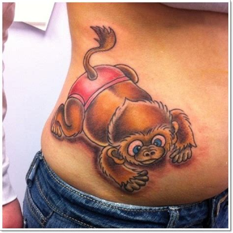 small monkey tattoo 3d colored monkey on waist
