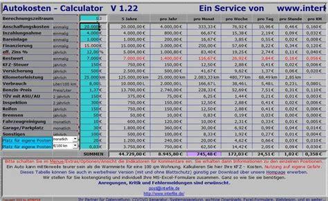 Restwert Auto Berechnen Kostenlos Sterreich by Auto Kosten Rechner Freeware De