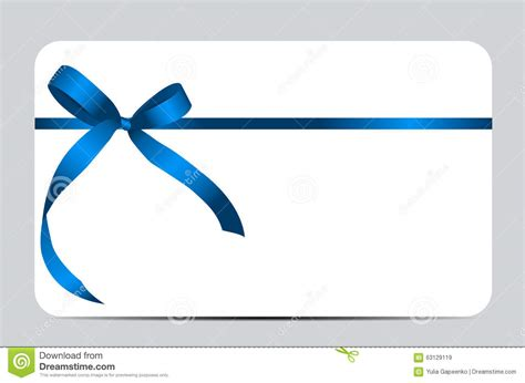 Ribbons Gift Card - gift card with blue ribbon and bow vector stock vector illustration of nobody