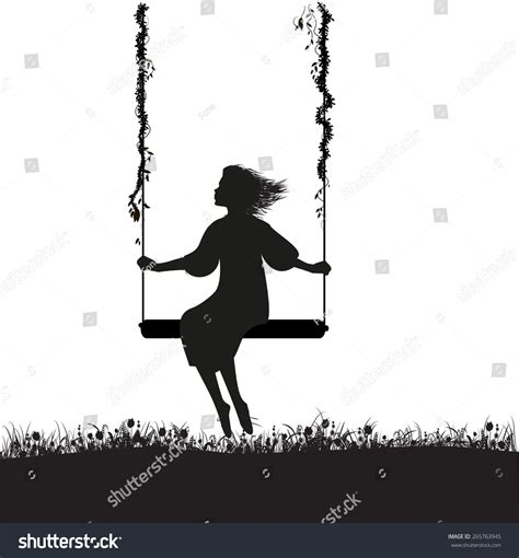 shadow swing young girl sitting on swing summer stock vector 265763945