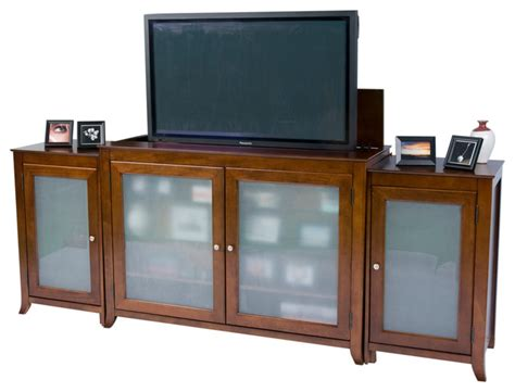 Bedroom Tv Lift Furniture Brookside Mocha Cherry Tv Lift Cabinet With Side Cabinets