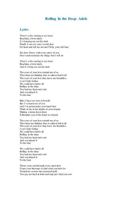 rolling in the testo pin adele rolling in the lyrics unedited on